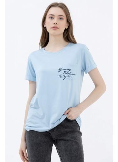 Sementa Rahat Kesim Cep Detaylı Baskılı Tshirt - Mavi Mavi